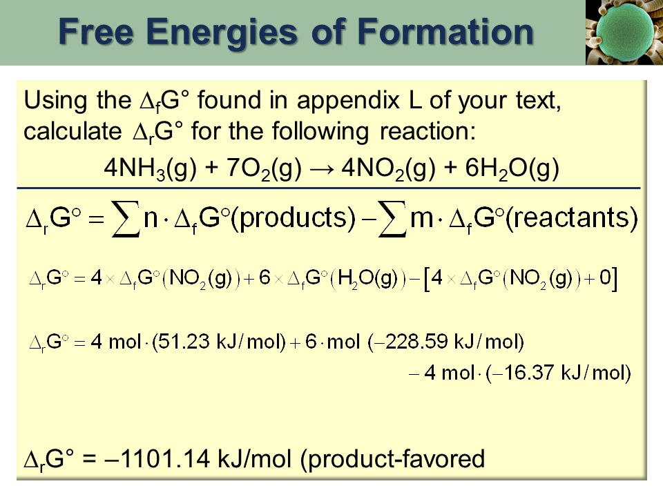 Using the  f G° found in appendix L of your text, calculate  r G° for the following reaction: 4NH 3 (g) + 7O 2 (g) → 4NO 2 (g) + 6H 2 O(g)  r G° =