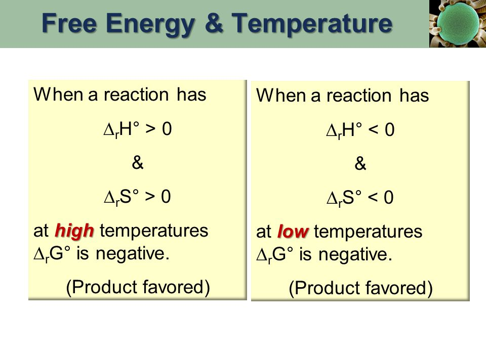 When a reaction has  r H° > 0 &  r S° > 0 high at high temperatures  r G° is negative. (Product favored) When a reaction has  r H° < 0 &  r S° <