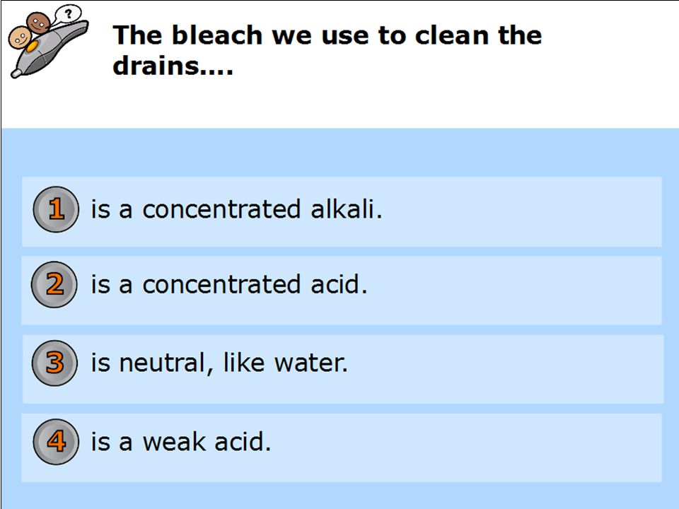 Starter Questions Name a household acid Vinegar, tomato sauce, lemon juice etc.