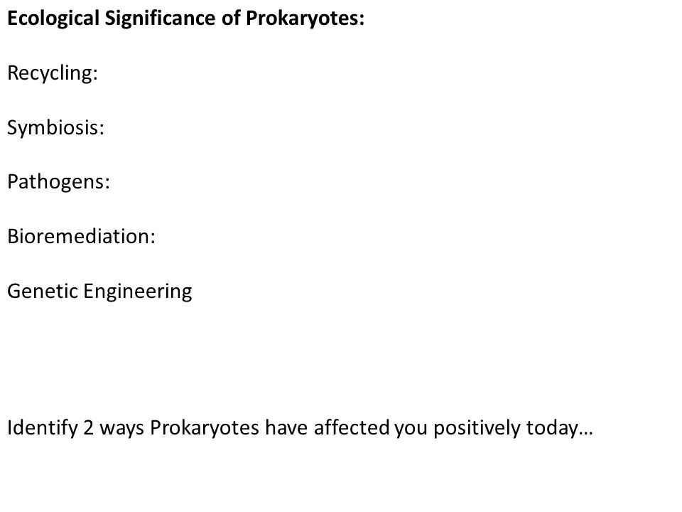 Ecological Significance of Prokaryotes: Recycling: Symbiosis: Pathogens: Bioremediation: Genetic Engineering Identify 2 ways Prokaryotes have affected
