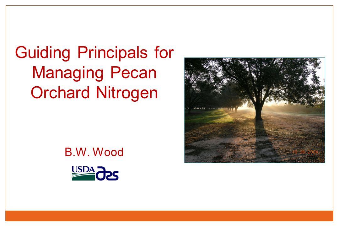 Bruce W. Wood Guiding Principals for Managing Pecan Orchard Nitrogen B.W. Wood