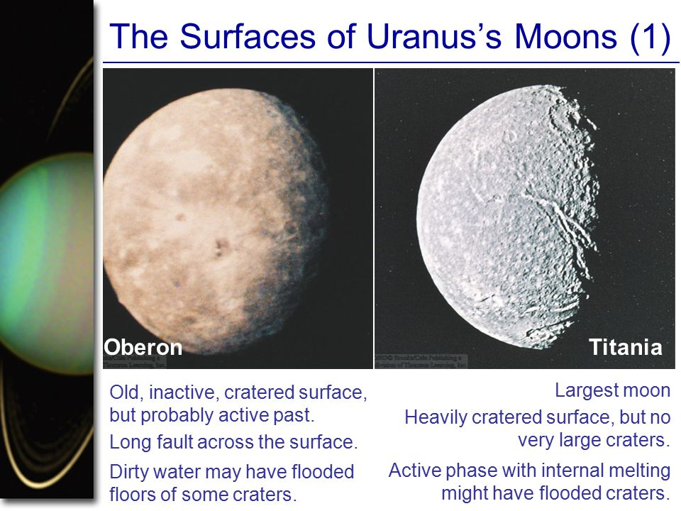 The Surfaces of Uranus's Moons (1) Oberon Old, inactive, cratered surface, Titania but probably active past.