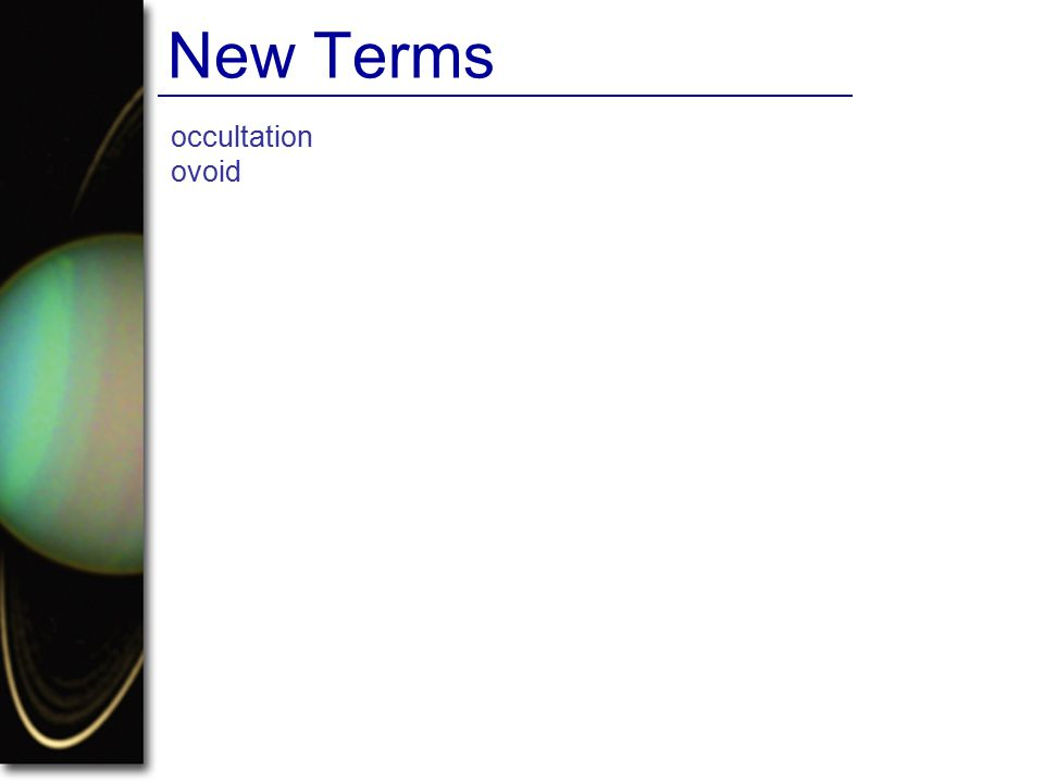 occultation ovoid New Terms