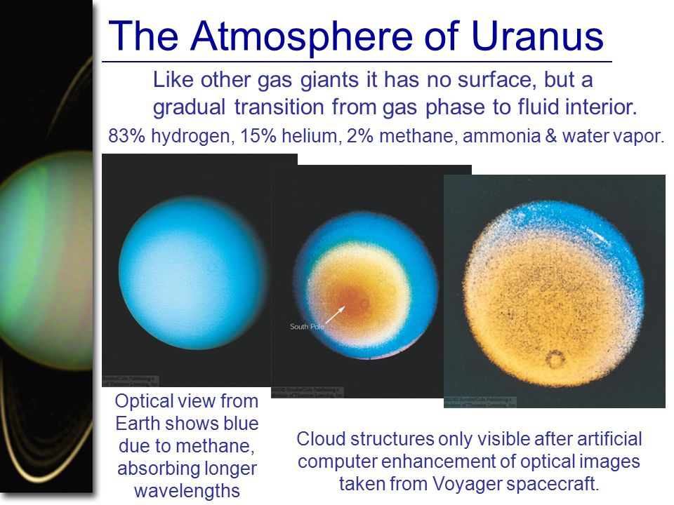 The Atmosphere of Uranus Like other gas giants it has no surface, but a gradual transition from gas phase to fluid interior.