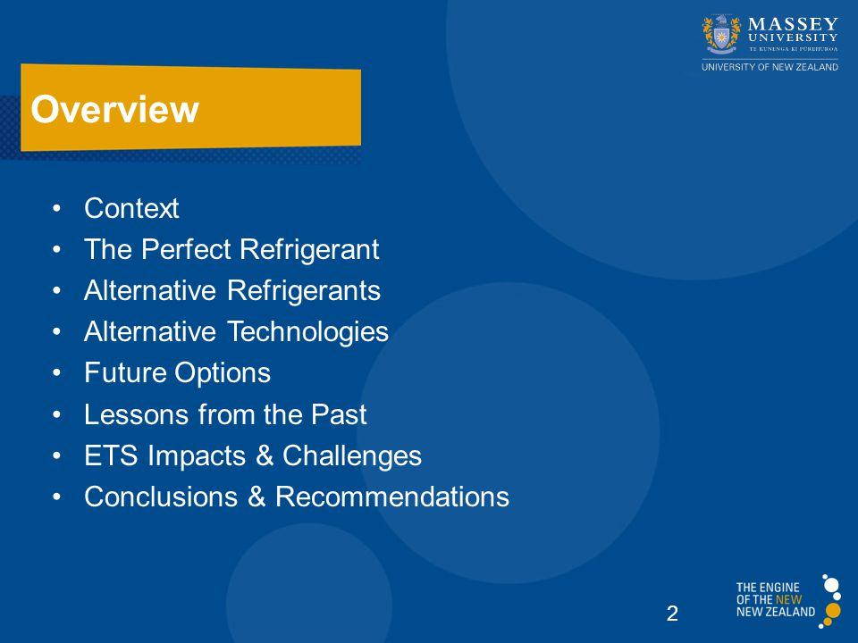 Context The Perfect Refrigerant Alternative Refrigerants Alternative Technologies Future Options Lessons from the Past ETS Impacts & Challenges Conclusions & Recommendations Overview 2