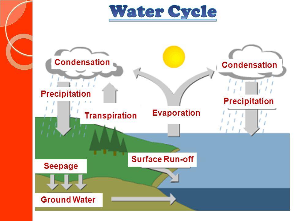 Precipitation Evaporation Transpiration Condensation Seepage Surface Run-off Ground Water Precipitation