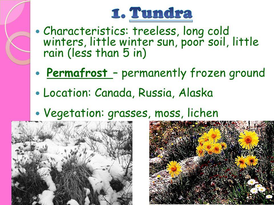 Characteristics: treeless, long cold winters, little winter sun, poor soil, little rain (less than 5 in) Permafrost – permanently frozen ground Locati