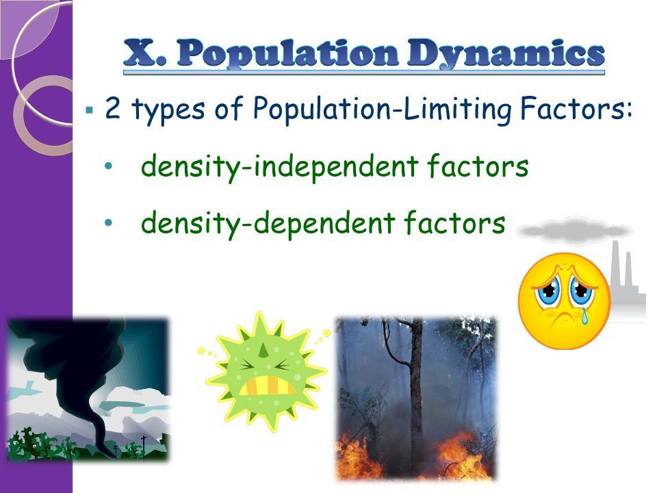  2 types of Population-Limiting Factors: density-independent factors density-dependent factors