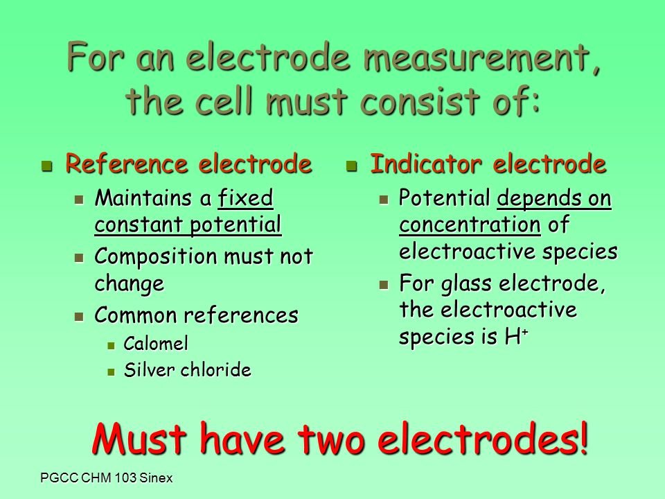 PGCC CHM 103 Sinex For an electrode measurement, the cell must consist of: Reference electrode Reference electrode Maintains a fixed constant potential Maintains a fixed constant potential Composition must not change Composition must not change Common references Common references Calomel Calomel Silver chloride Silver chloride Indicator electrode Indicator electrode Potential depends on concentration of electroactive species For glass electrode, the electroactive species is H + Must have two electrodes!