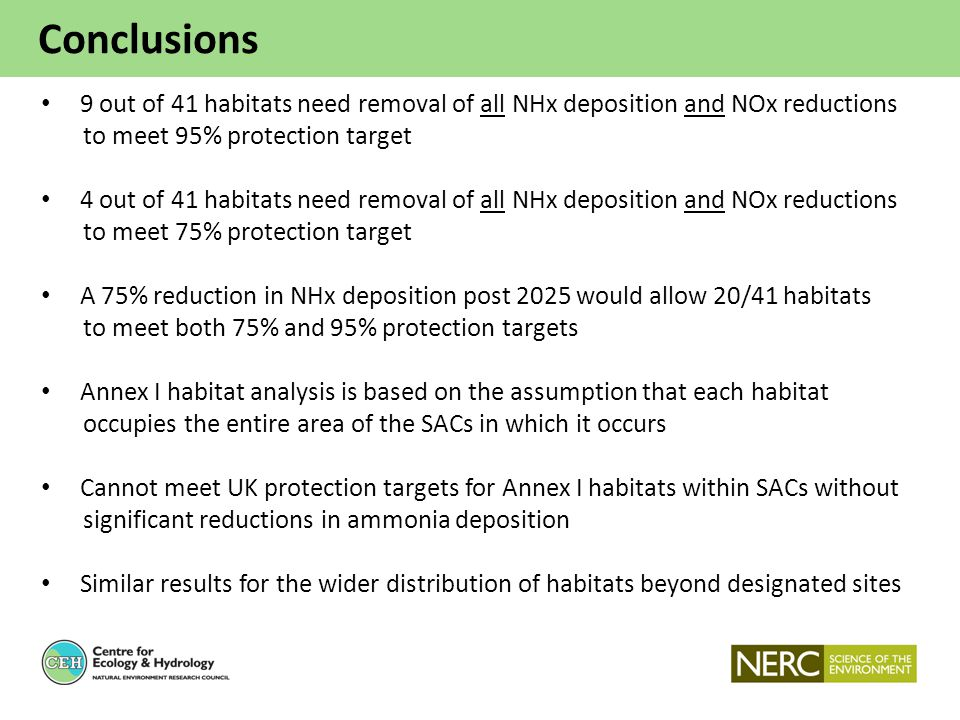 Conclusions 9 out of 41 habitats need removal of all NHx deposition and NOx reductions to meet 95% protection target 4 out of 41 habitats need removal