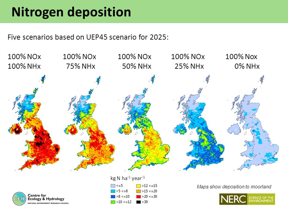 Nitrogen deposition Maps show deposition to moorland Five scenarios based on UEP45 scenario for 2025: 100% NOx 100% NOx 100% NOx 100% NOx 100% Nox 100