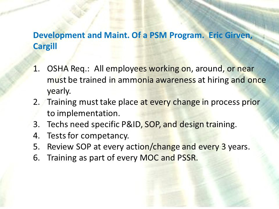 Development and Maint. Of a PSM Program.