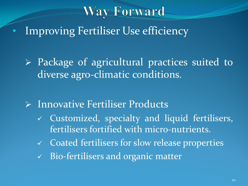 Improving Fertiliser Use efficiency  Package of agricultural practices suited to diverse agro-climatic conditions.
