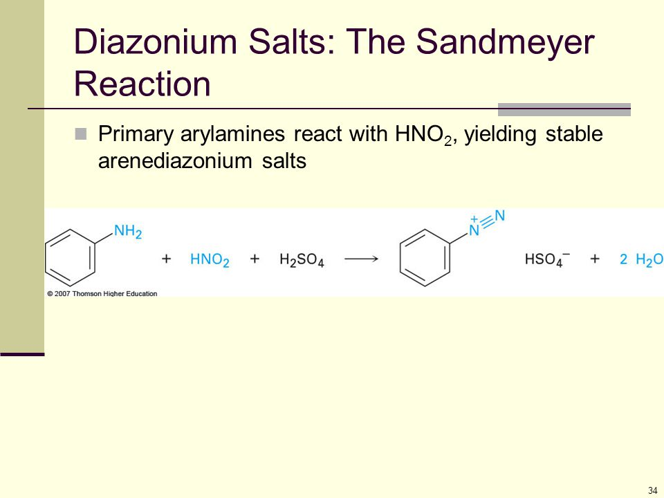 34 Diazonium Salts: The Sandmeyer Reaction Primary arylamines react with HNO 2, yielding stable arenediazonium salts