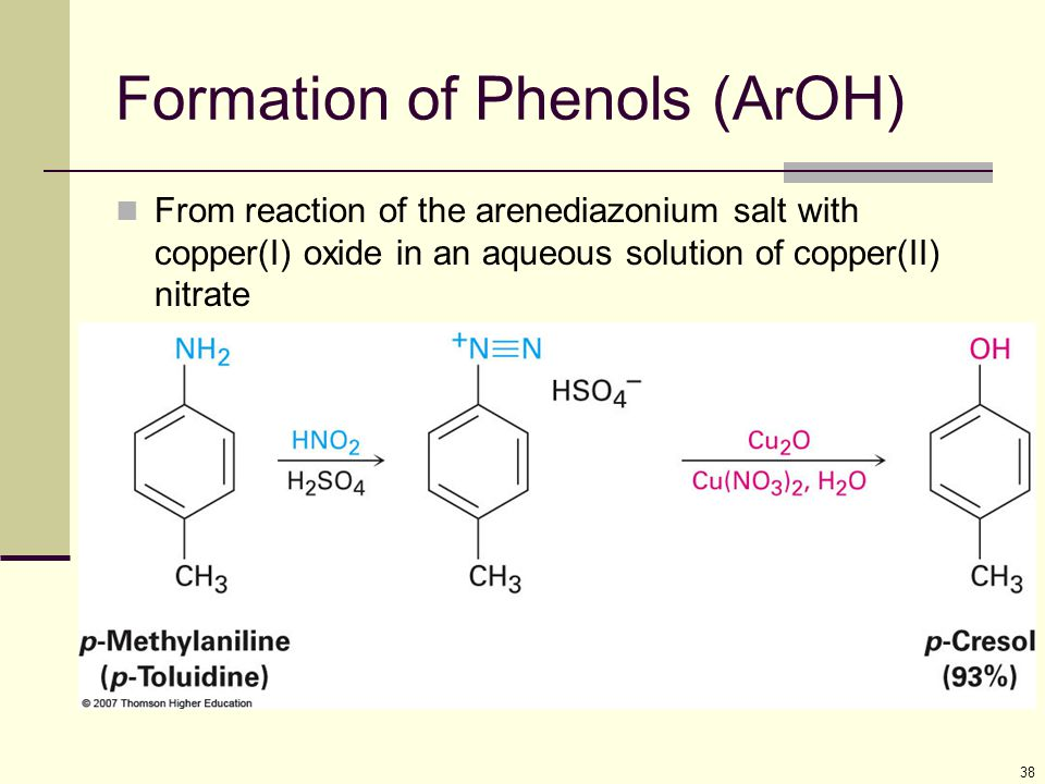 38 Formation of Phenols (ArOH) From reaction of the arenediazonium salt with copper(I) oxide in an aqueous solution of copper(II) nitrate