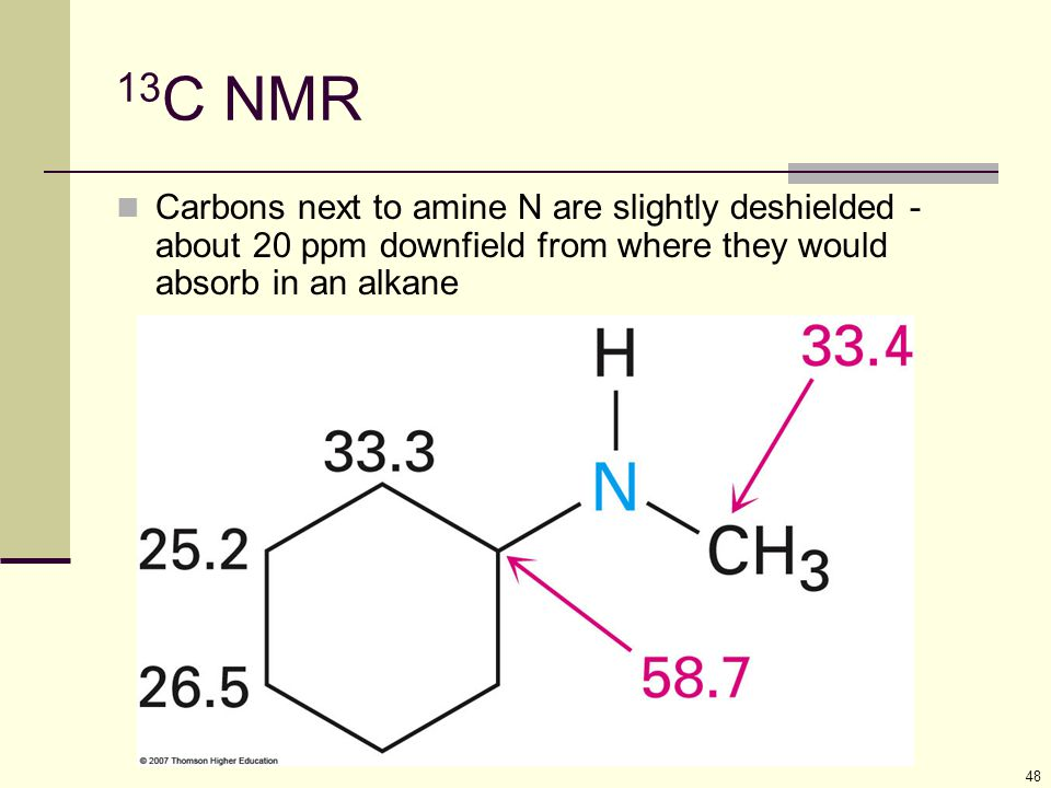 48 13 C NMR Carbons next to amine N are slightly deshielded - about 20 ppm downfield from where they would absorb in an alkane