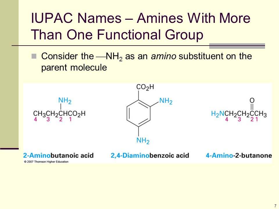 18 Substituted Arylamines Can be more basic or less basic than aniline Electron-donating substituents (such as  CH 3,  NH 2,  OCH 3 ) increase the basicity of the corresponding arylamine Electron-withdrawing substituents (such as  Cl,  NO 2,  CN) decrease arylamine basicity