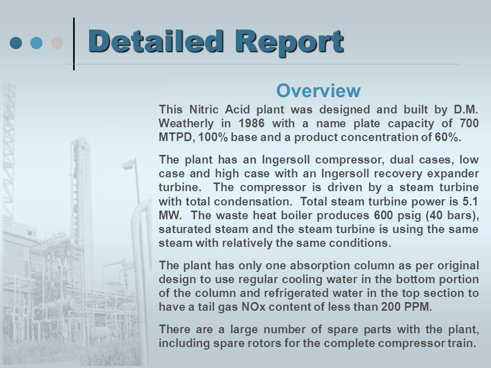 Detailed Report Overview This Nitric Acid plant was designed and built by D.M. Weatherly in 1986 with a name plate capacity of 700 MTPD, 100% base and