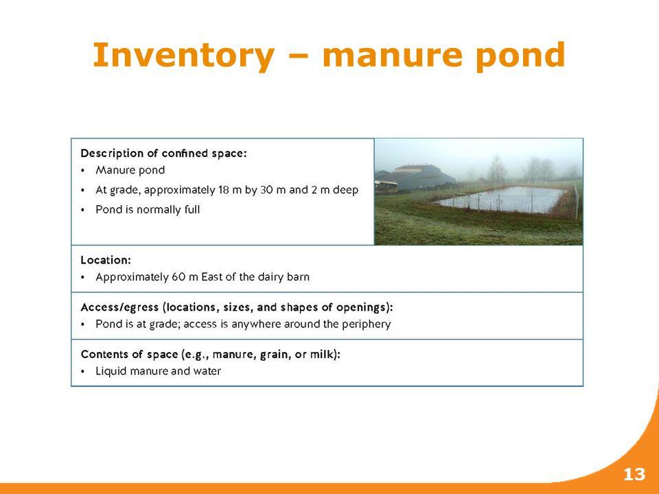13 Inventory – manure pond