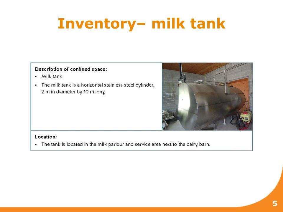 Inventory– milk tank 5