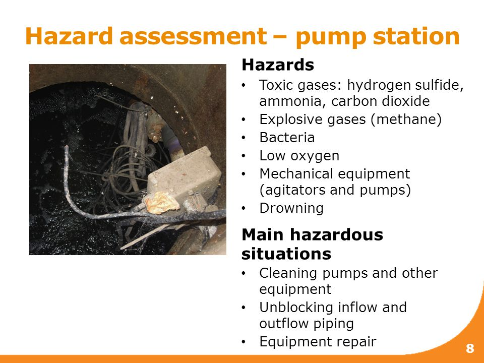 Hazard assessment – pump station 8 Hazards Toxic gases: hydrogen sulfide, ammonia, carbon dioxide Explosive gases (methane) Bacteria Low oxygen Mechanical equipment (agitators and pumps) Drowning Main hazardous situations Cleaning pumps and other equipment Unblocking inflow and outflow piping Equipment repair