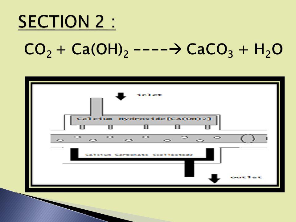 CO 2 + Ca(OH) 2 ----  CaCO 3 + H 2 O