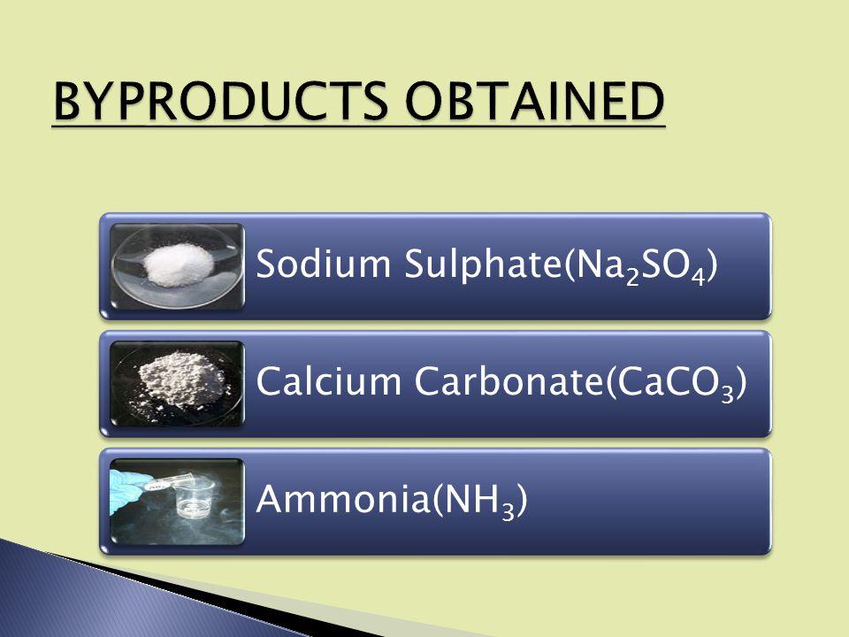 Sodium Sulphate(Na2SO4) Calcium Carbonate(CaCO3) Ammonia(NH3)