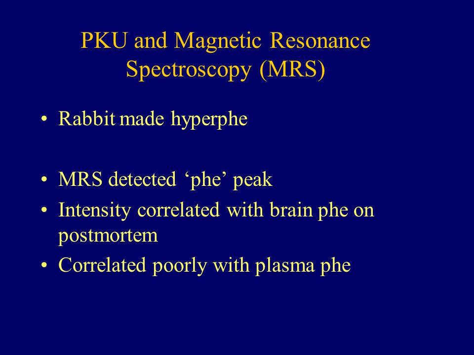 PKU and Magnetic Resonance Spectroscopy (MRS) Rabbit made hyperphe MRS detected 'phe' peak Intensity correlated with brain phe on postmortem Correlated poorly with plasma phe