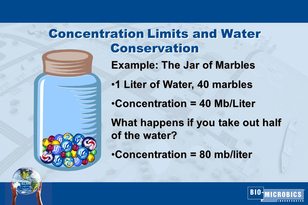 Concentration Limits and Water Conservation Example: The Jar of Marbles 1 Liter of Water, 40 marbles1 Liter of Water, 40 marbles Concentration = 40 Mb/LiterConcentration = 40 Mb/Liter What happens if you take out half of the water.