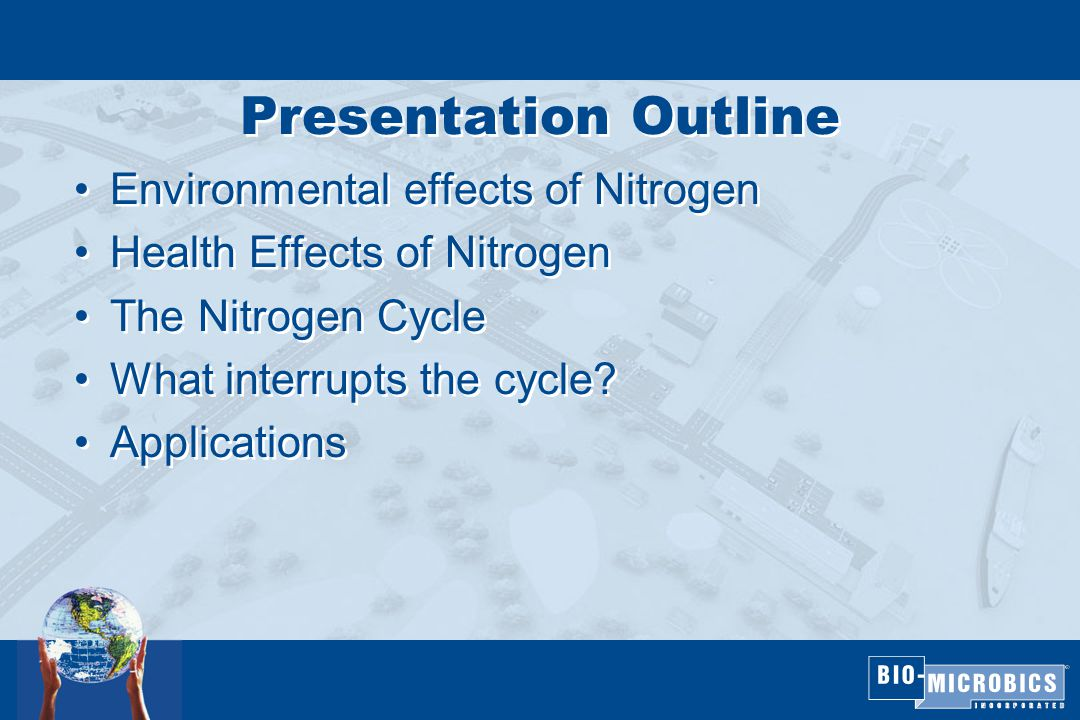 Presentation Outline Environmental effects of Nitrogen Health Effects of Nitrogen The Nitrogen Cycle What interrupts the cycle.