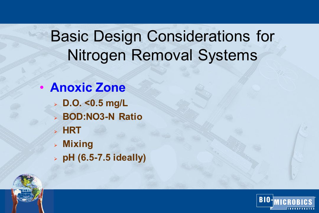 Basic Design Considerations for Nitrogen Removal Systems Anoxic Zone  D.O.