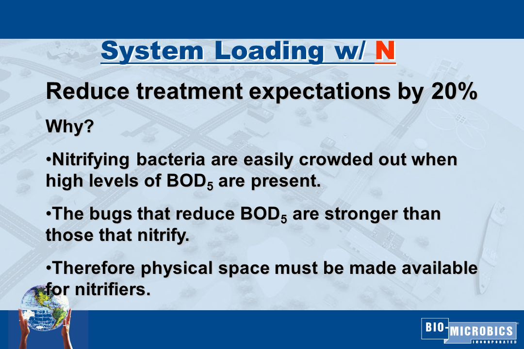 System Loading w/ N Reduce treatment expectations by 20% Why.