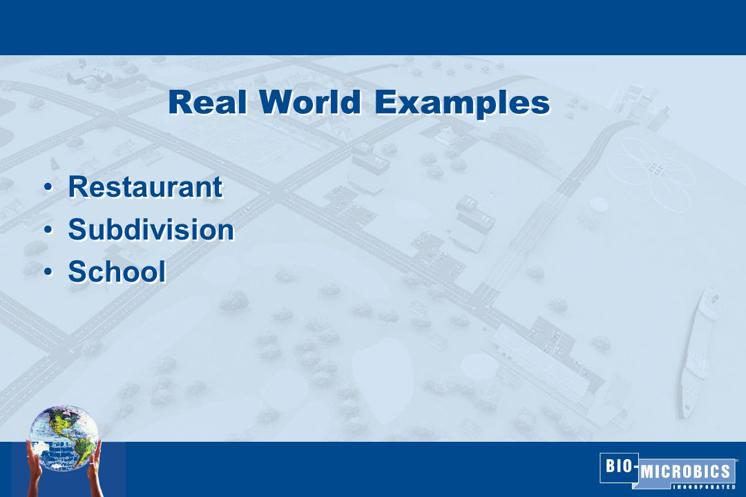 Real World Examples Restaurant Subdivision School Restaurant Subdivision School