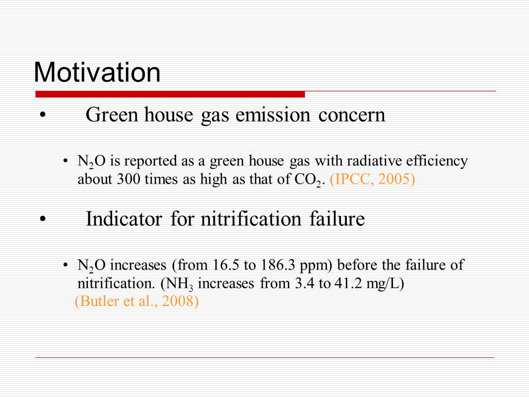 Motivation Green house gas emission concern N 2 O is reported as a green house gas with radiative efficiency about 300 times as high as that of CO 2.