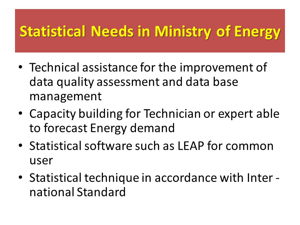 Statistical Needs in Ministry of Energy Technical assistance for the improvement of data quality assessment and data base management Capacity building