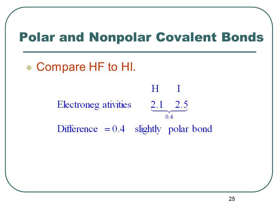 25 Polar and Nonpolar Covalent Bonds Compare HF to HI.