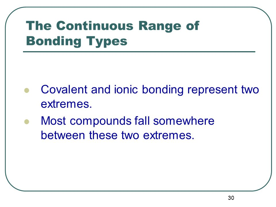 30 The Continuous Range of Bonding Types Covalent and ionic bonding represent two extremes.