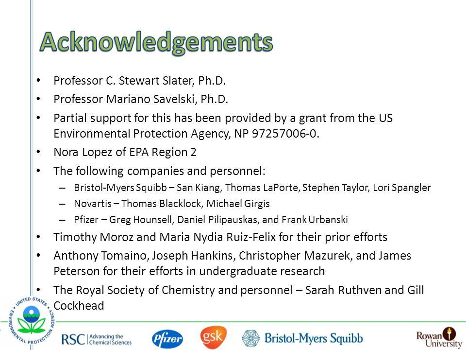 Professor C. Stewart Slater, Ph.D. Professor Mariano Savelski, Ph.D.