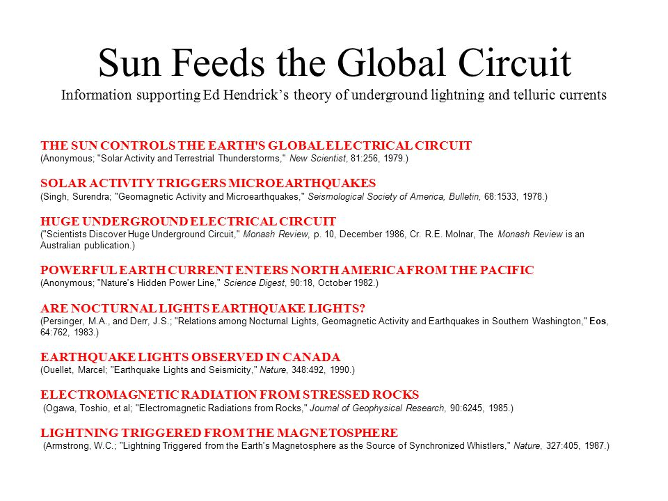 Sun Feeds the Global Circuit Information supporting Ed Hendrick's theory of underground lightning and telluric currents THE SUN CONTROLS THE EARTH'S G
