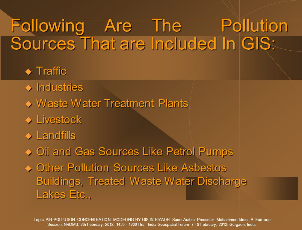 MOBILE AIR QUALITY MONITORING STATIONS Topic: AIR POLLUTION CONCENTRATION MODELING BY GIS IN RIYADH, Saudi Arabia.