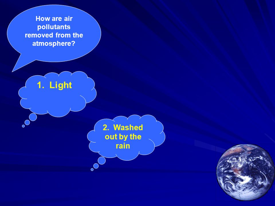 How are air pollutants removed from the atmosphere 1. Light 2. Washed out by the rain