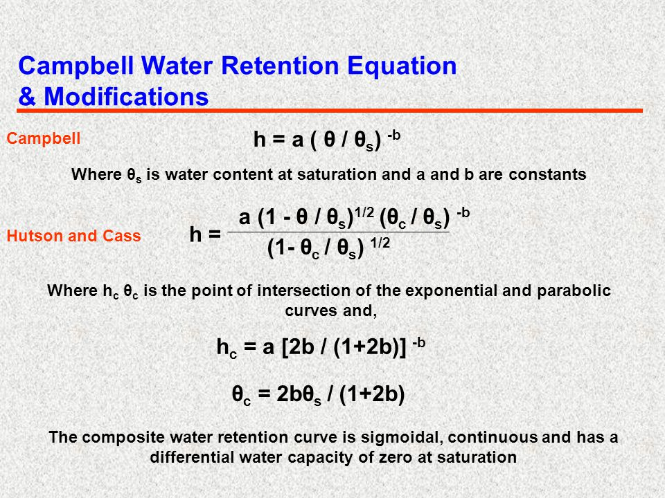 Campbell Water Retention Equation & Modifications h = a ( θ / θ s ) -b Where θ s is water content at saturation and a and b are constants a (1 - θ / θ