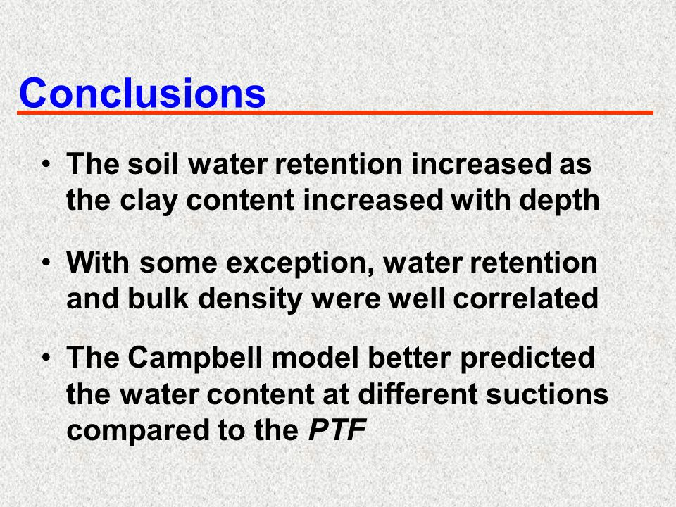 Conclusions The soil water retention increased as the clay content increased with depth With some exception, water retention and bulk density were wel