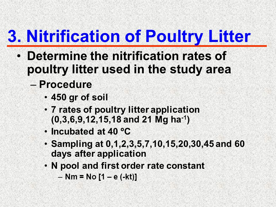 3. Nitrification of Poultry Litter Determine the nitrification rates of poultry litter used in the study area –Procedure 450 gr of soil 7 rates of pou