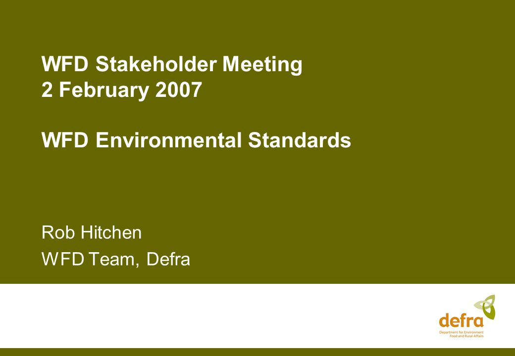 Environmental Standards/Conditions Environmental Standards and conditions are the physico-chemical and hydromorphological parameters that are in support of the achievement of good status (good ecological status for surface waters and groundwater status) Being developed by each MS but will be informed with the 'intercalibration' of biological classification between MS Good chemical status is defined at EU level via daughter directive on priority substances