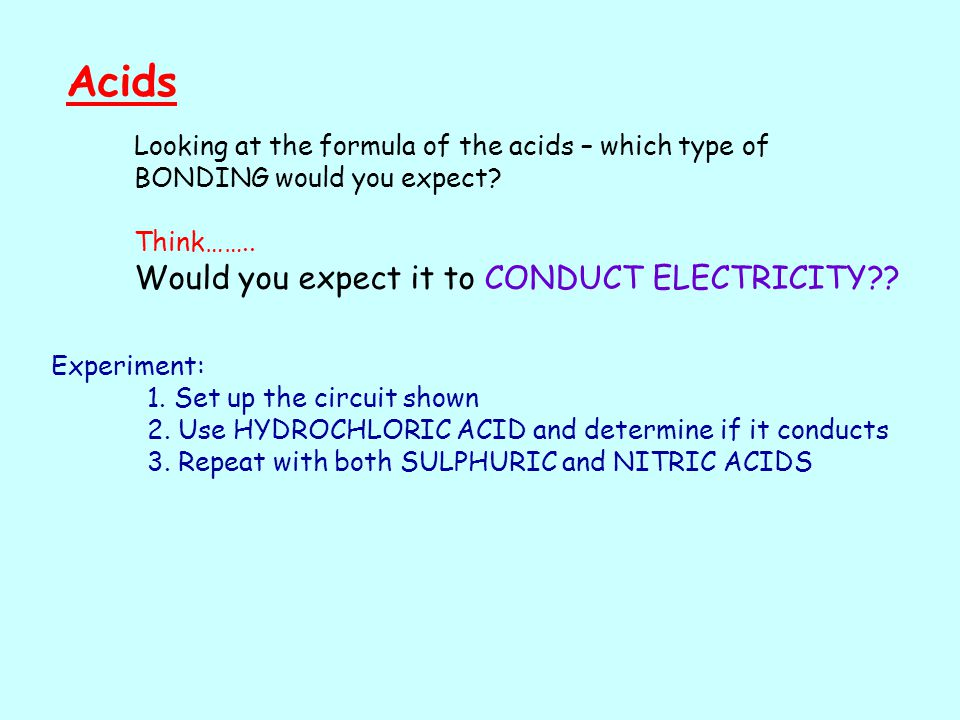 Acids Looking at the formula of the acids – which type of BONDING would you expect.