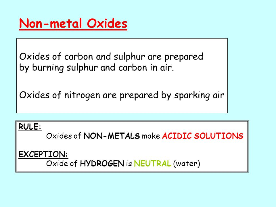Non-metal Oxides Oxides of carbon and sulphur are prepared by burning sulphur and carbon in air.