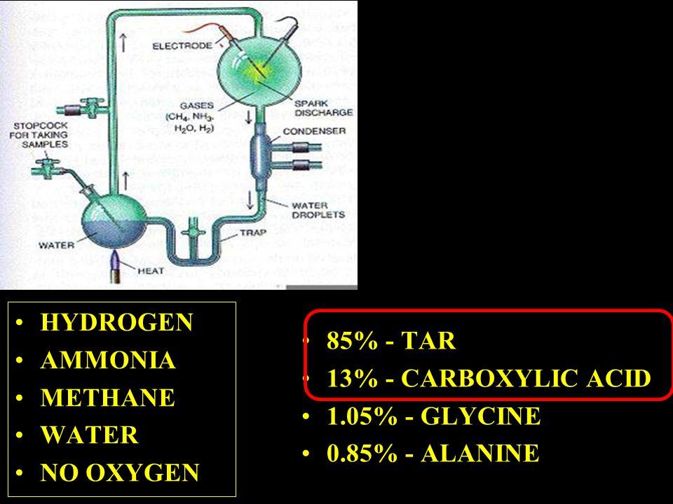 HYDROGEN AMMONIA METHANE WATER NO OXYGEN 85% - TAR 13% - CARBOXYLIC ACID 1.05% - GLYCINE 0.85% - ALANINE