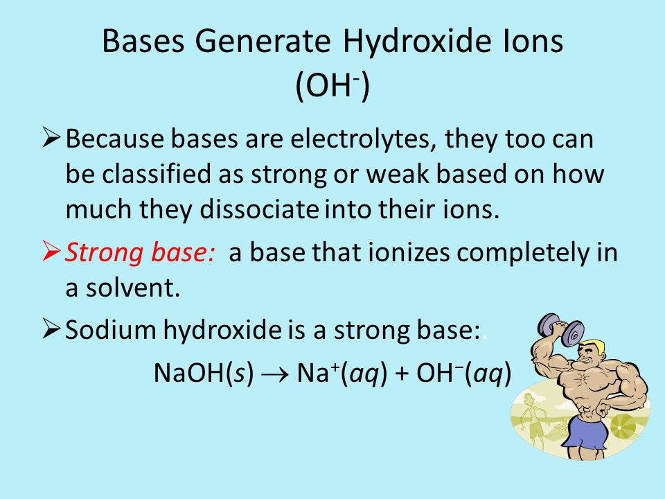 Bases Generate Hydroxide Ions (OH - )  Because bases are electrolytes, they too can be classified as strong or weak based on how much they dissociate into their ions.