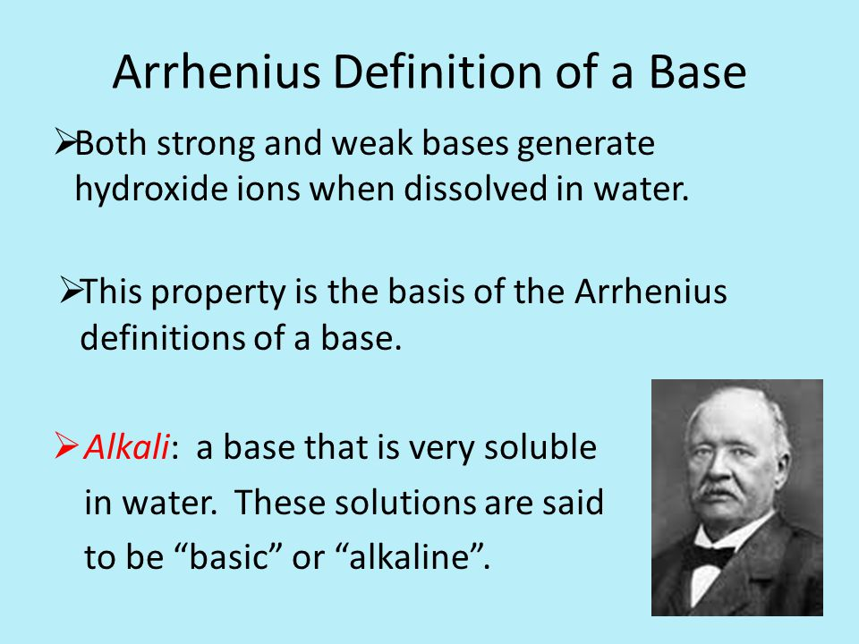 Arrhenius Definition of a Base  Both strong and weak bases generate hydroxide ions when dissolved in water.
